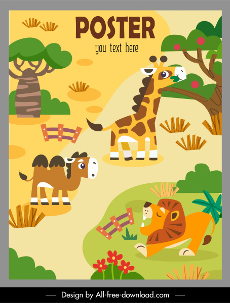 zoo poster template colorful flat cartoon sketch