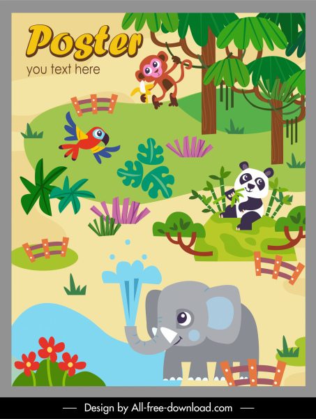 zoo poster template cute colorful cartoon sketch