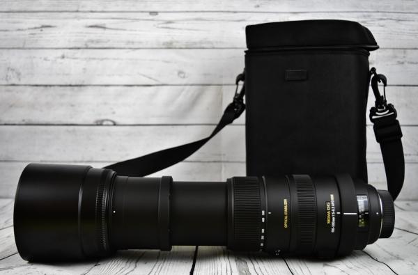 closeup of modern long lens camera