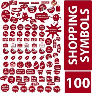 shopping symbols design elements various red shapes