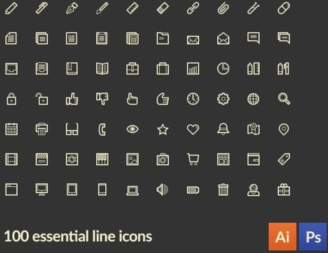 100 kind small fine essential line icons vector