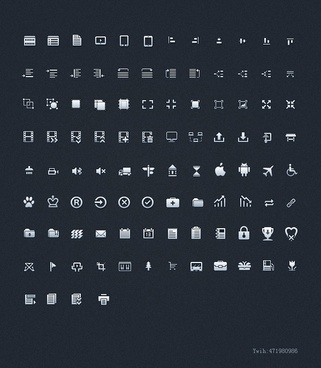 100 monochrome pages commonly used small icon