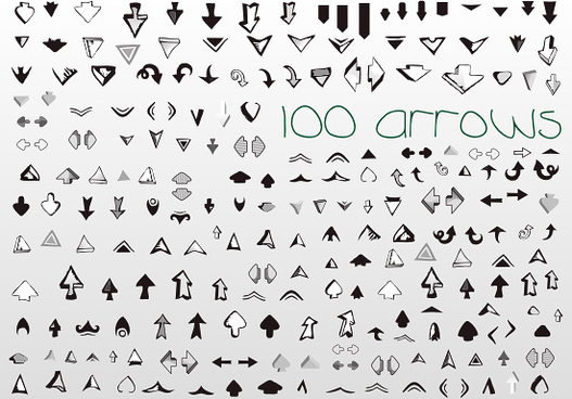 100 vector arrows