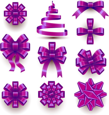 10 beautiful purple ribbon bow vector