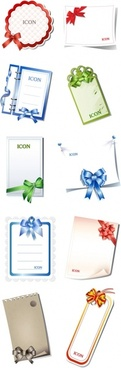 10 blank cards with bow vector