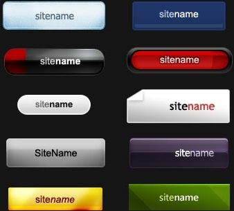 10 button styles template psd layered