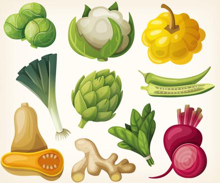 10 cartoon vegetables design vector