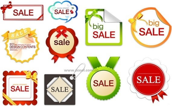10 lovely sales discount tag vector