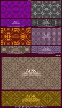 10 retro elegant lace pattern vector
