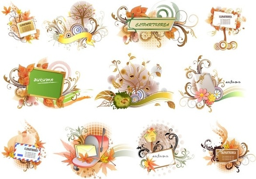 11 autumn theme vector