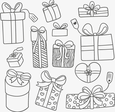 11 hand painted holiday gift vector