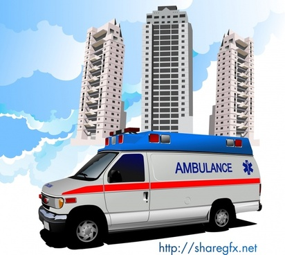 hospital background ambulance buildings sketch modern 3d
