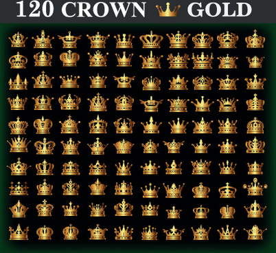 120 kind golden crown vector