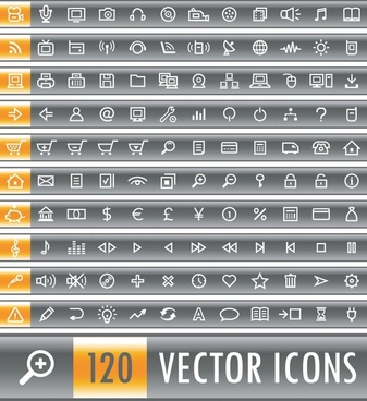 digital ui icons collection flat simple sketch