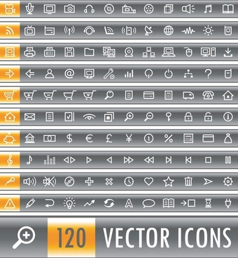120 simple and practical icon vector