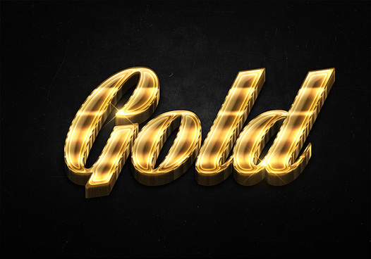 12 3d shiny gold text effects