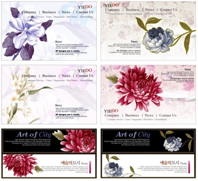 12 beautiful korean pattern psd layered