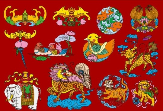 12 chinese folk auspicious patterns vector