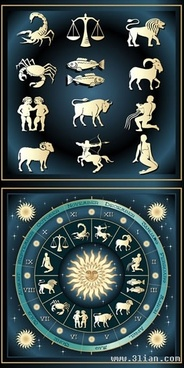 zodiac background templates colored flat symbols decor