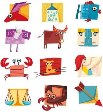 12 constellations cute icon vector
