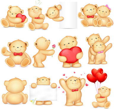 12 cute tactic bear icon vector