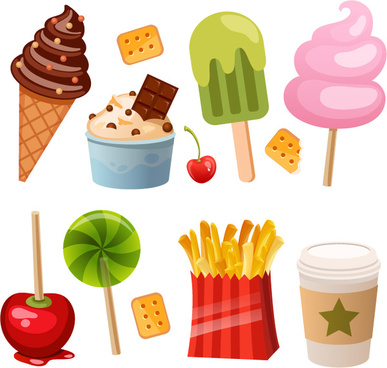 12 delicious snacks design vector