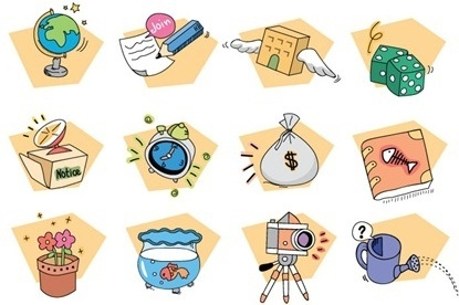 various icons collection colorful cartoon style