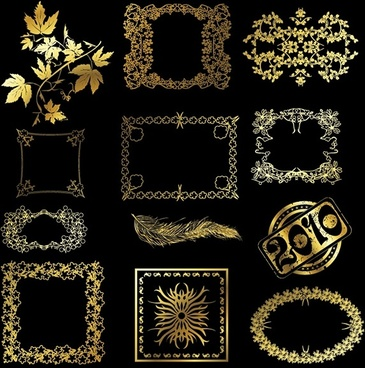 12 golden lace pattern vector