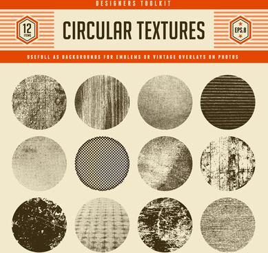 12 kind circular textures grunge vector