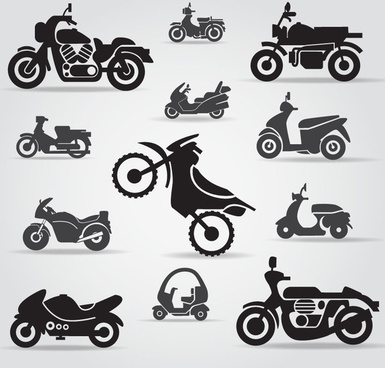 12 motorcycle silhouette vector