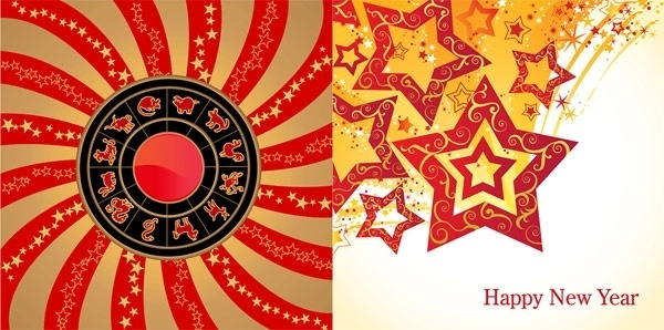12 new year zodiac wheel star theme vector
