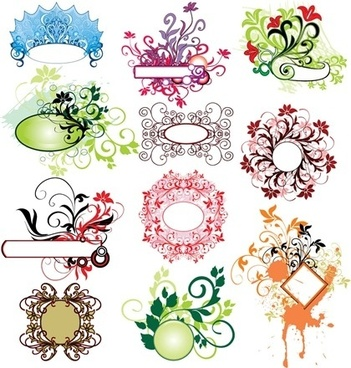 floral decoration design elements colorful classical swirls style