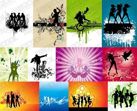music party posters collection eventful classical silhouettes decoration