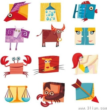 zodiac icons colorful cute shapes