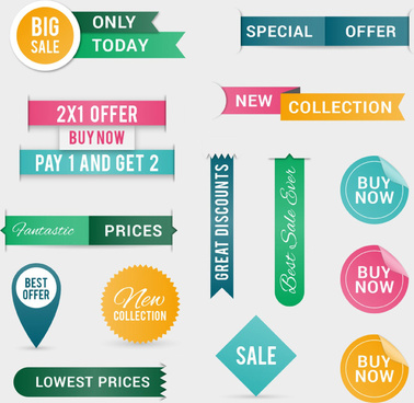 14 color promotional label vector