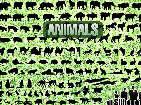 150 miscellaneous animals silhouettes