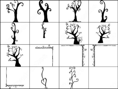 15 doodles tree brush