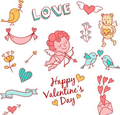 15 fresh valentine element vector