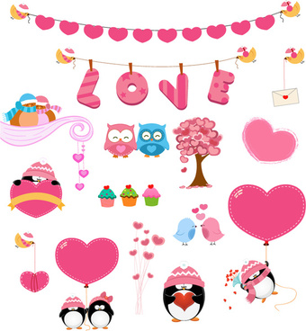 15 love pink design elements vector