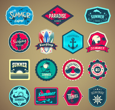 15 summer holiday label vector