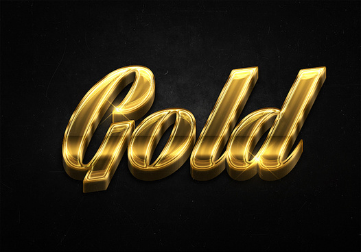 16 3d shiny gold text effects preview