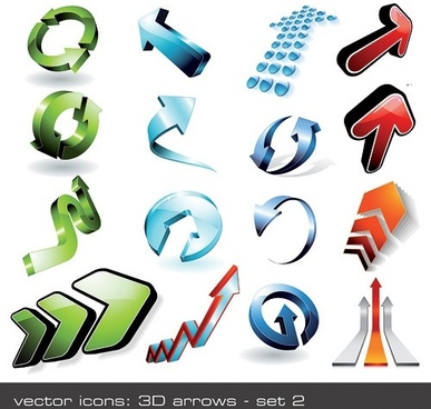 16 cool 3d stereoscopic arrow vector