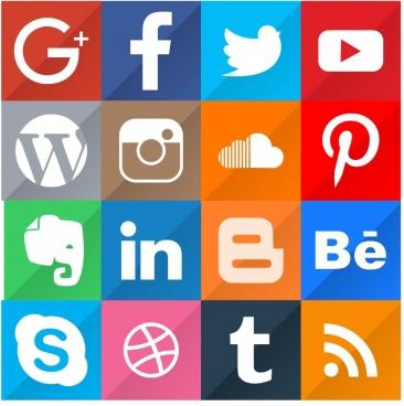 16 popular social media icon set