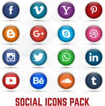 16 social icon set vector free download