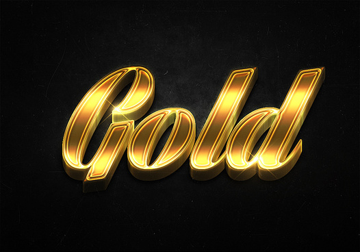 17 3d shiny gold text effects preview