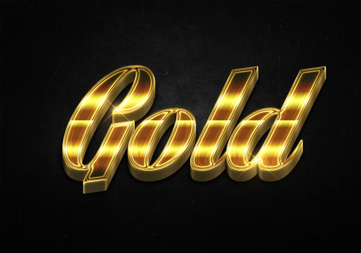 18 3d shiny gold text effects preview