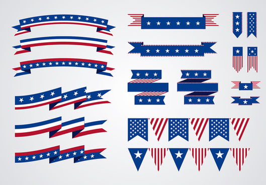 18 american elements and flags hanging ribbon vector
