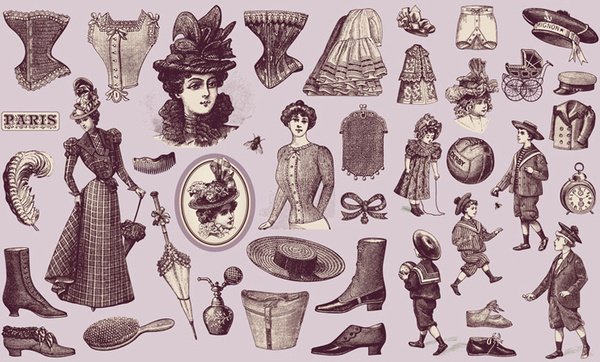 19 century the european figure and dress vector