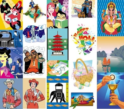19 european and american style illustrations vector