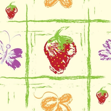 1 handpainted fruit background vector